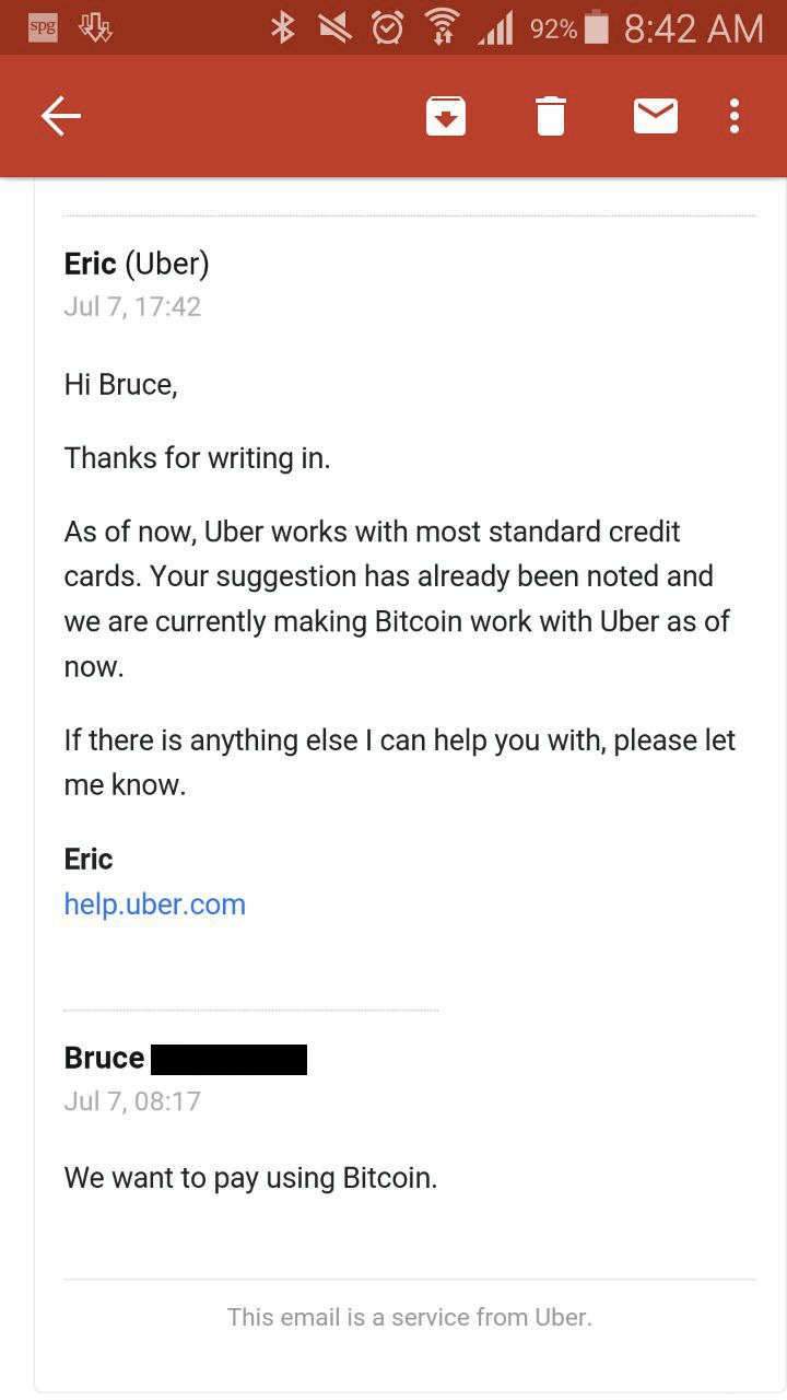 Uber confirms Bitcoin integration