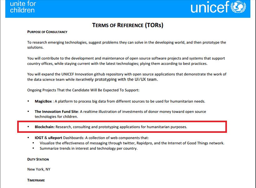 Especificaciones UNICEF