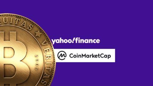 Yahoo Finance muestra precios de criptos. Collage de DiarioBitcoin