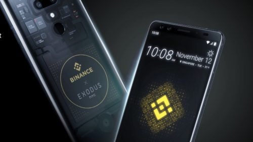 Celular de HTC Exodus y Binance. Imagen de la web de HTC