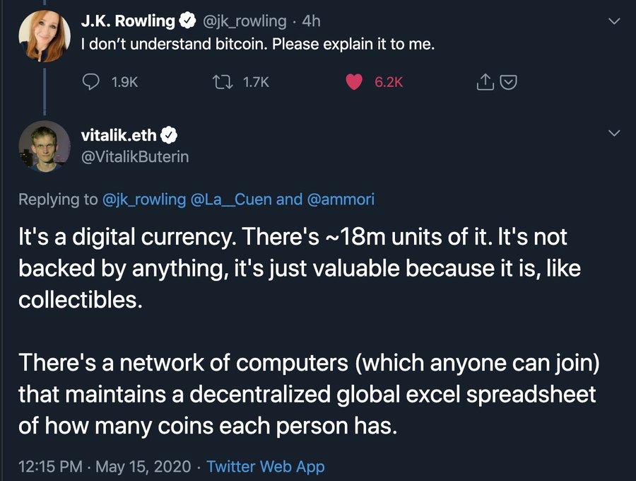 Captura del Tweet de J.K Rowling publicada en la cuenta de Twitter de Michael Arrington