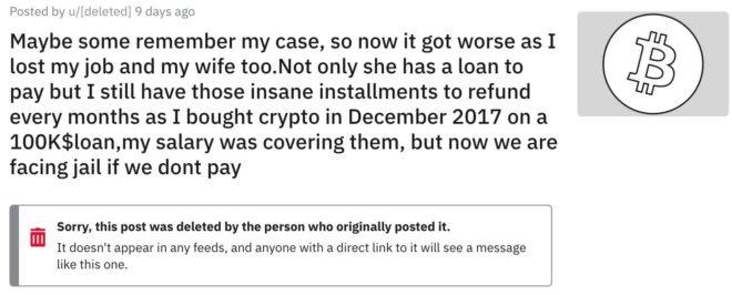 Usuario pidió préstamo de USD $ 100.000 para comprar Bitcoin, perdió y sus colegas le donaron para evitar ir a la cárcel