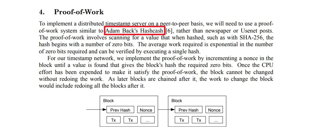 Adam Back citado en el white paper de Bitcoin