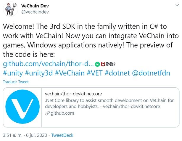 Anuncio del equipo de VeChain. Imagen extraída de Twitter