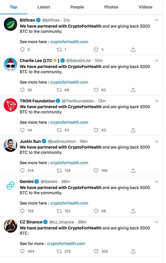 Hackers publican oferta engañosa en cuentas de organizaciones y personalidades cripto en Twitter. Imagen extraída de Twitter