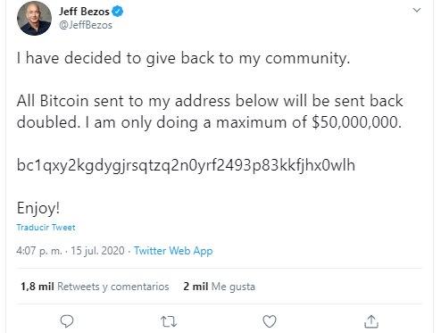 Solicitud de depósitos con Bitcoin en la cuenta de Jeff Bezos