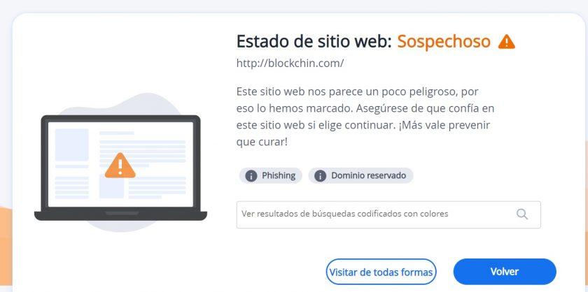 Alerta del antivirus al intentar ingresar al sitio web clon de Blockchain.info